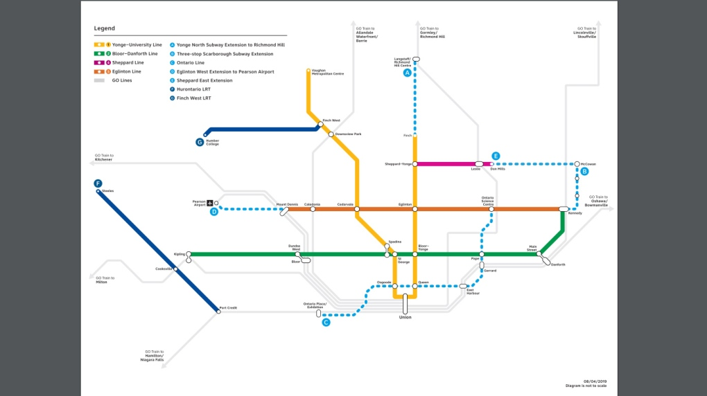 Subway Map Canada Toronto.Province Unveils Plans To Alter Four Big Toronto Transit Projects