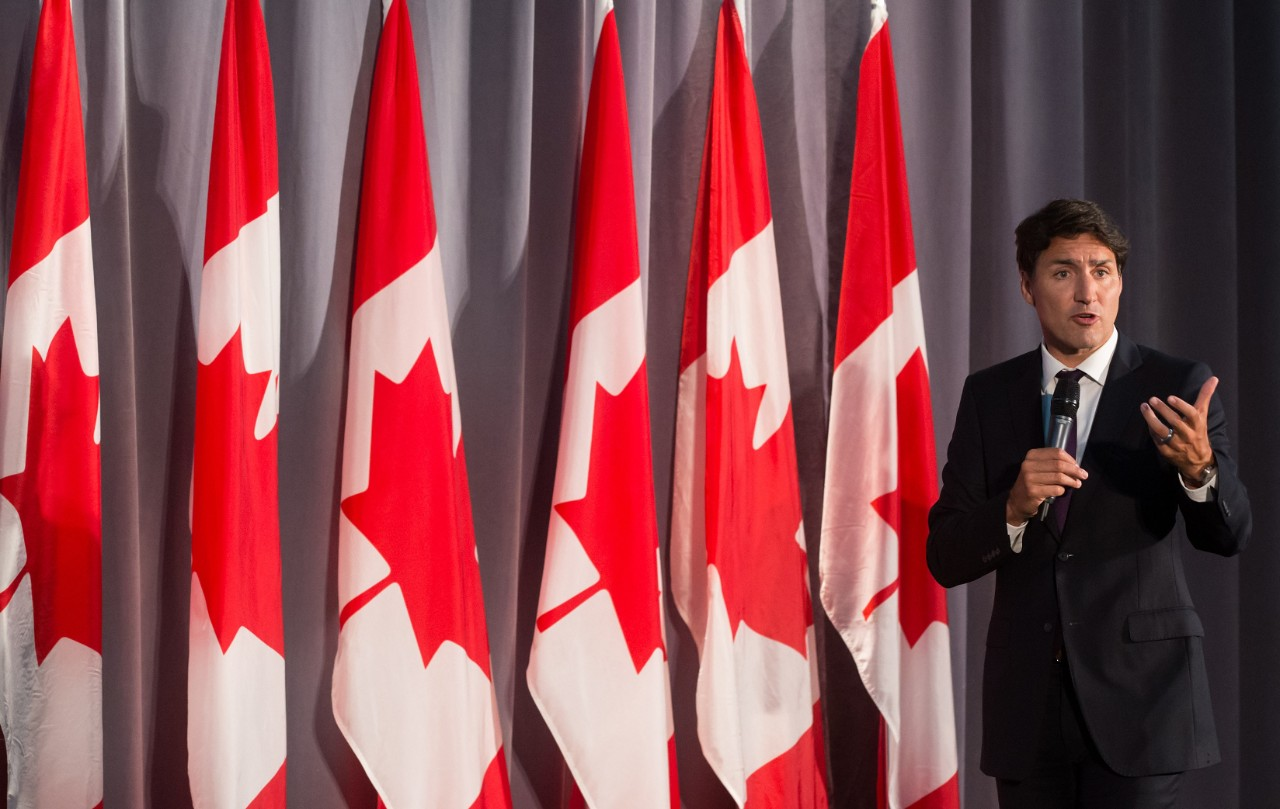 Prime Minister Justin Trudeau addresses supporters during a Liberal Party fundraiser in Surrey, B.C., Sunday, Aug. 4, 2019. Prime Minister Justin Trudeau is facing pressure from civil society groups to update Canadians before the October election on his government's review of a multibillion-dollar arms deal with Saudi Arabia. THE CANADIAN PRESS/Darryl Dyck